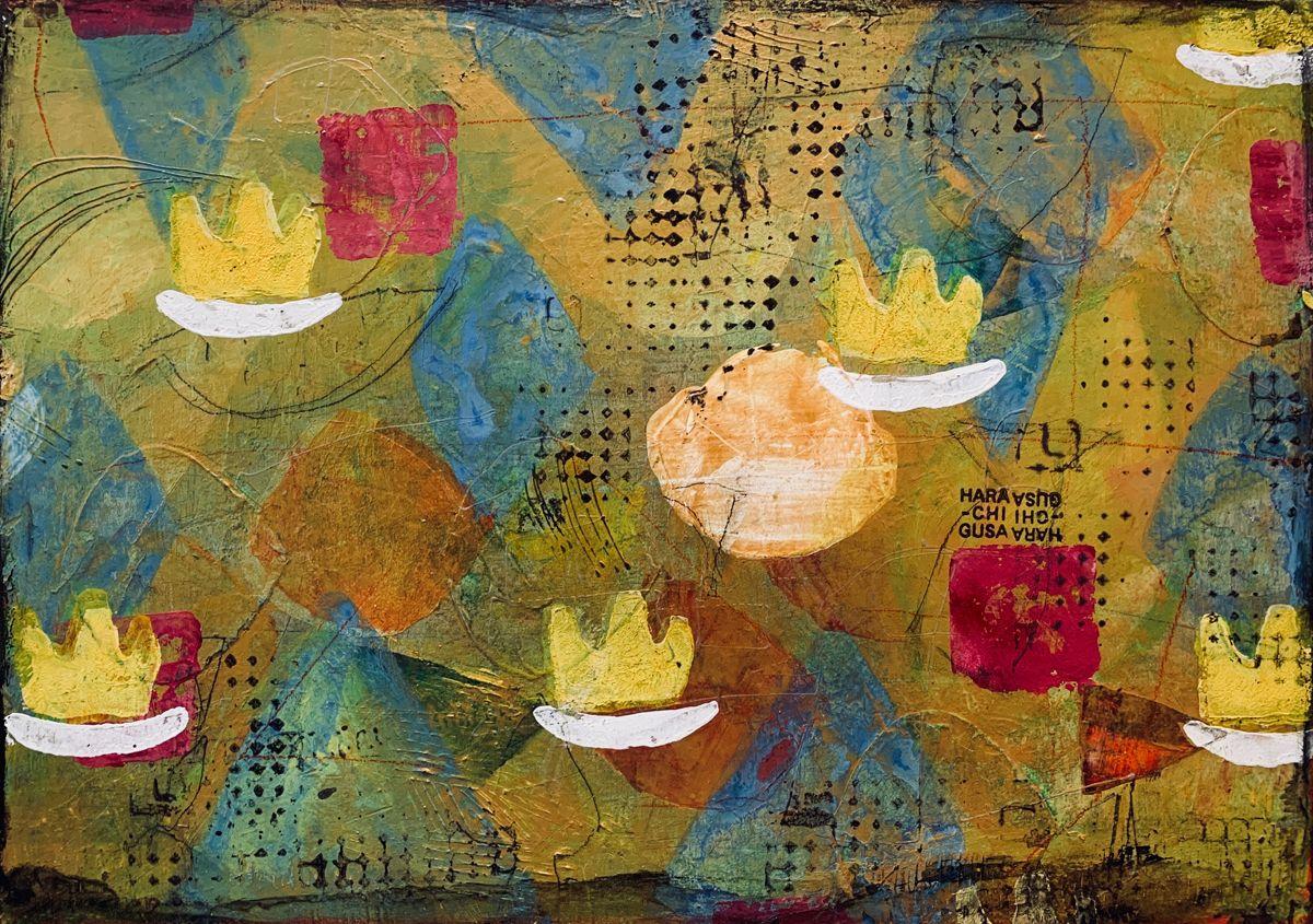 葛川在住の画家ハラチグサさんの絵は 脳を活性化するチカラを持っている 抽象画であるのにとても身近で 保健室の先生のような絵だ ハラチグサ 遺され村の美術展 Art 抽象画 臨床美術 アートセラピー 葛川細川 細川 奔放なカビ 抽象画 亜蛮人 アート