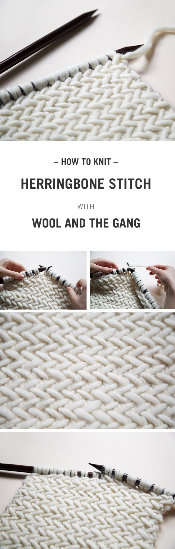 Herringbone Knit Stitch Blanket Pattern : HOW TO KNIT HERRINGBONE STITCH WITH WOOL AND THE GANG :) HOW TO KNIT Pint...