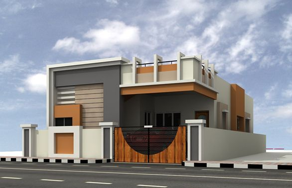 South facing house elevation designs kannadi samy for South facing home designs