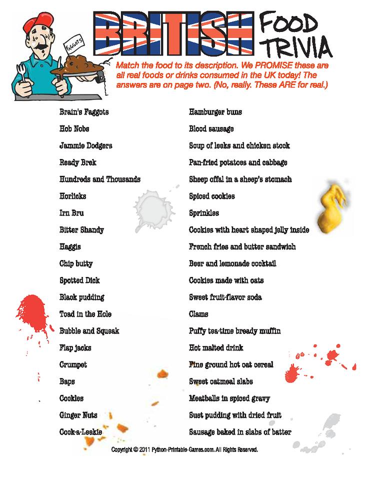 British Food Trivia Game! Makes me appreciate American