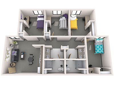 Agave Apartments 3br Layout In 2020 Student House Dorm