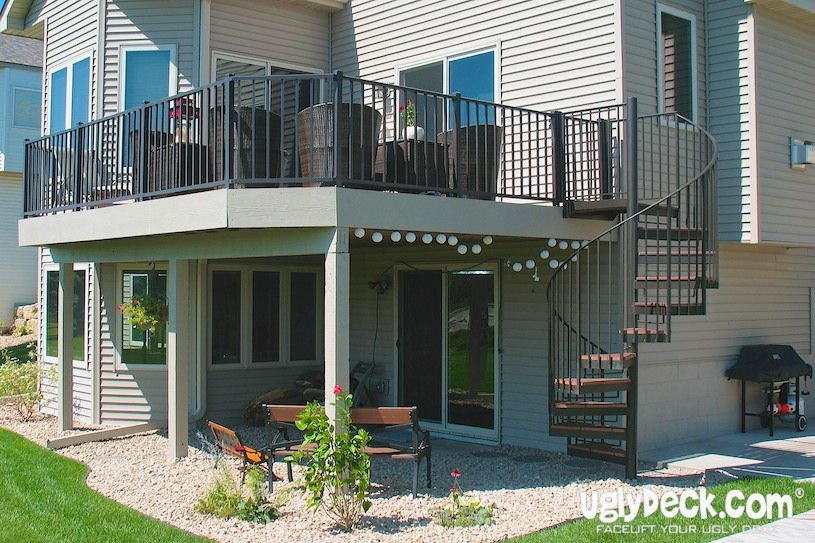 Spiral Staircases Minneapolis Deck Builders Maintenance Free | Exterior Stairs To Second Floor | Commercial Exterior | Design | Two Story | Covered | Patio