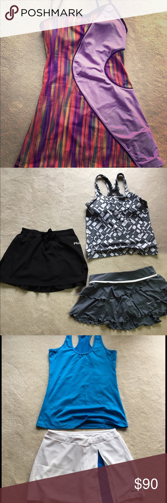 Tennis outfits Nike dress, Nike skirt and tank, plus four tanks and two  skirts