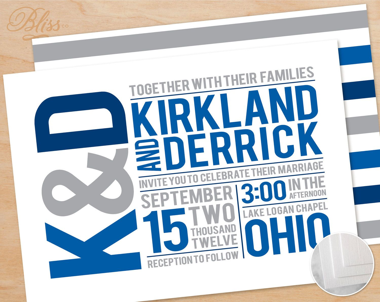 Printable Wedding Invitation Suite – Gay/Lesbian Couple, Invitation, RSVP, Save the Date, Info Card, Blue, Stripes, Traditional, Classic