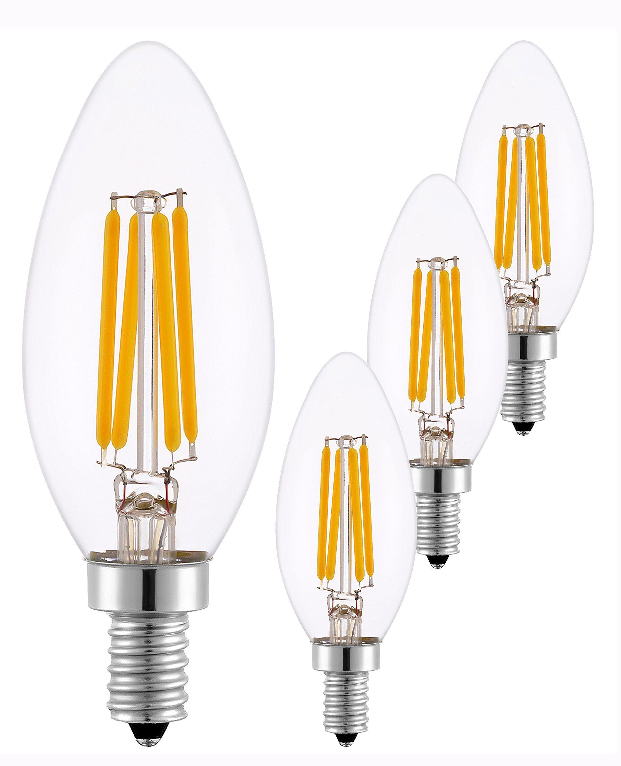 Sleeklighting 3 5 Watt E12 Led Filament Candelabra Light Bulb Dimmable 35w Incandescent Replacement Warm White 2700k Chandelie Candelabra Light Light Bulb Bulb