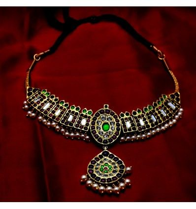 Elegant Red Green Temple Jewellery Necklace   Temple