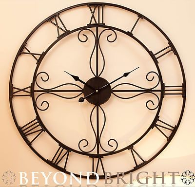 Large Metal Wrought Iron Wall Clock Ornate Vintage French
