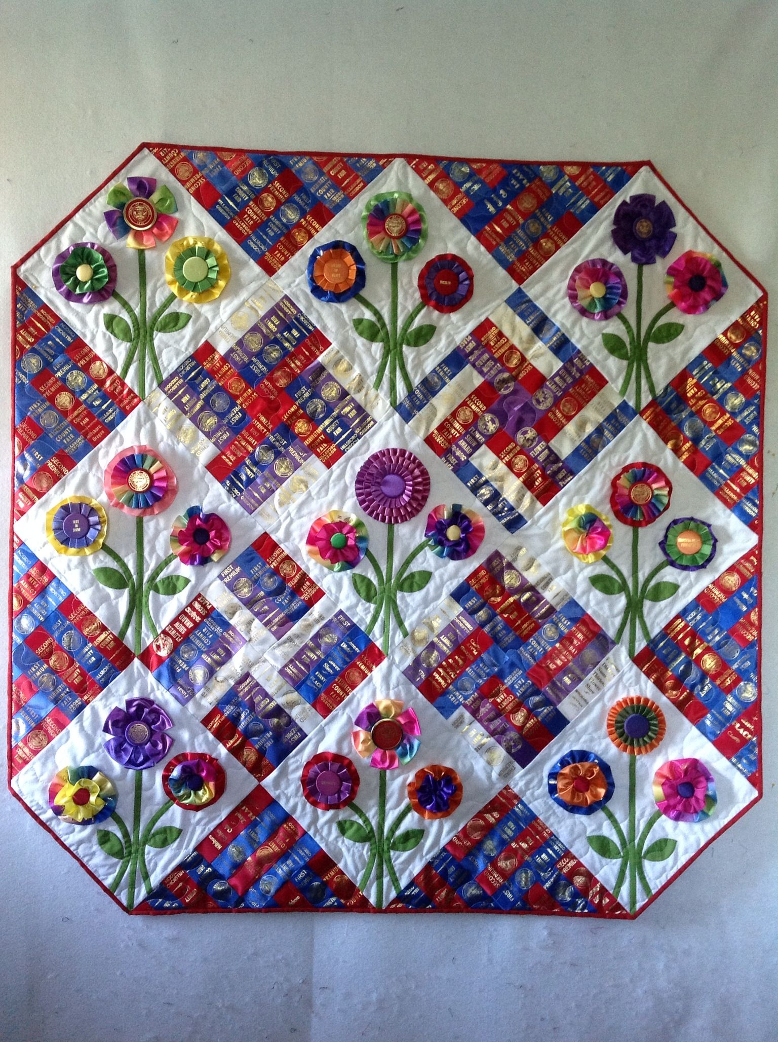 Quilt from Moms flower ribbons.