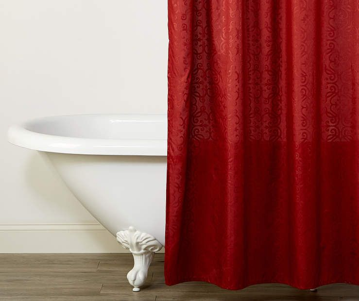 Living Colors Tomato Red Scrollwork Fabric Shower Curtain Fabric