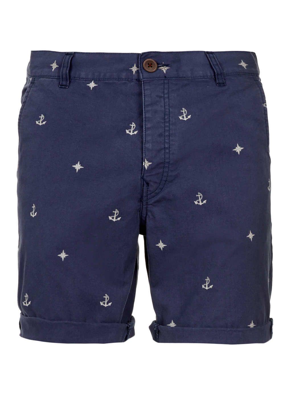 c12b63e0b1e4 Blue Nautical Motif Shorts - Men s Shorts - Clothing - TOPMAN USA ...