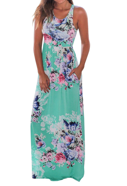 Nulibenna womenus summmer beach sleeveless floral maxi tank dress