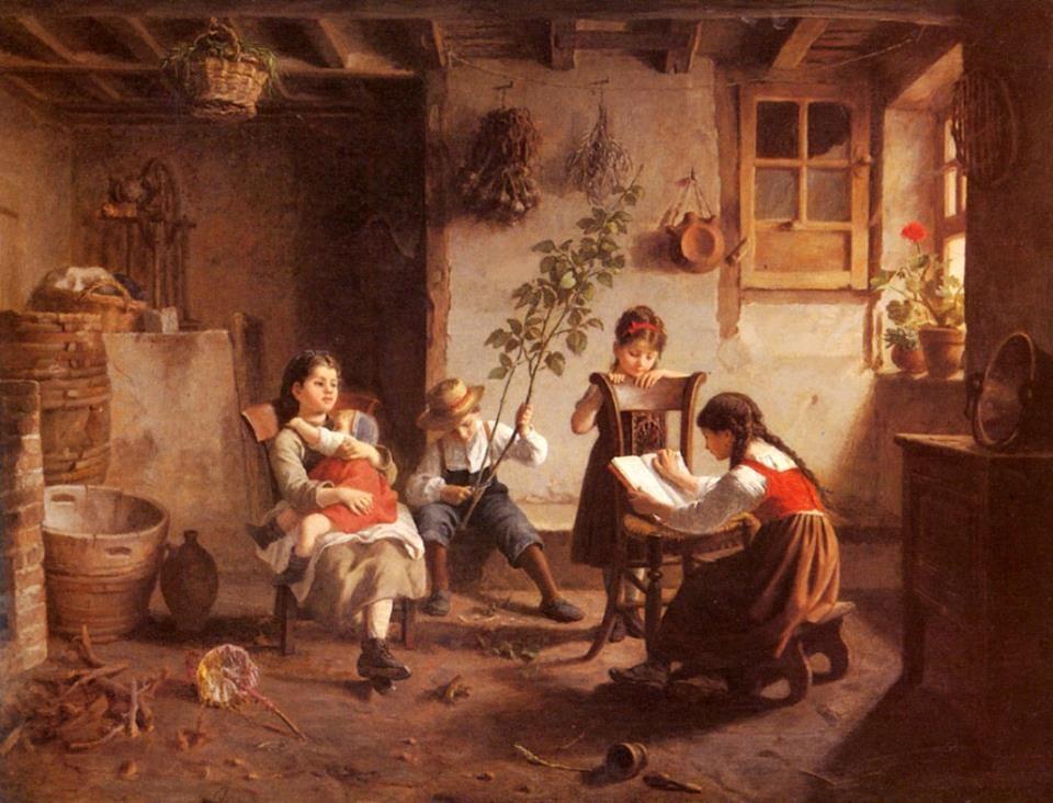 Paul Seignac (Francia, 1826-1904) - La lección de lectura, s/f. Óleo sobre tabla, 48.5 x 66.7 cm (colección privada)