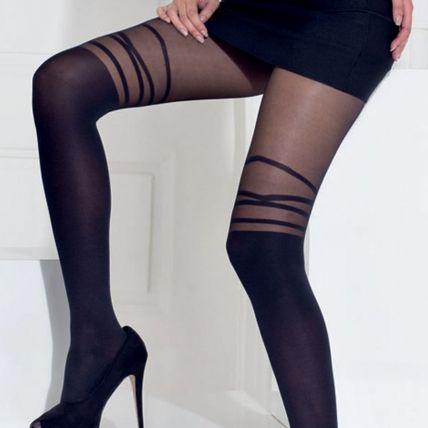 Collant fantaisie effet laçage 70 deniers noir Fabuleuse  collants  black   lingerie  pommpoire c1a9aee2a44