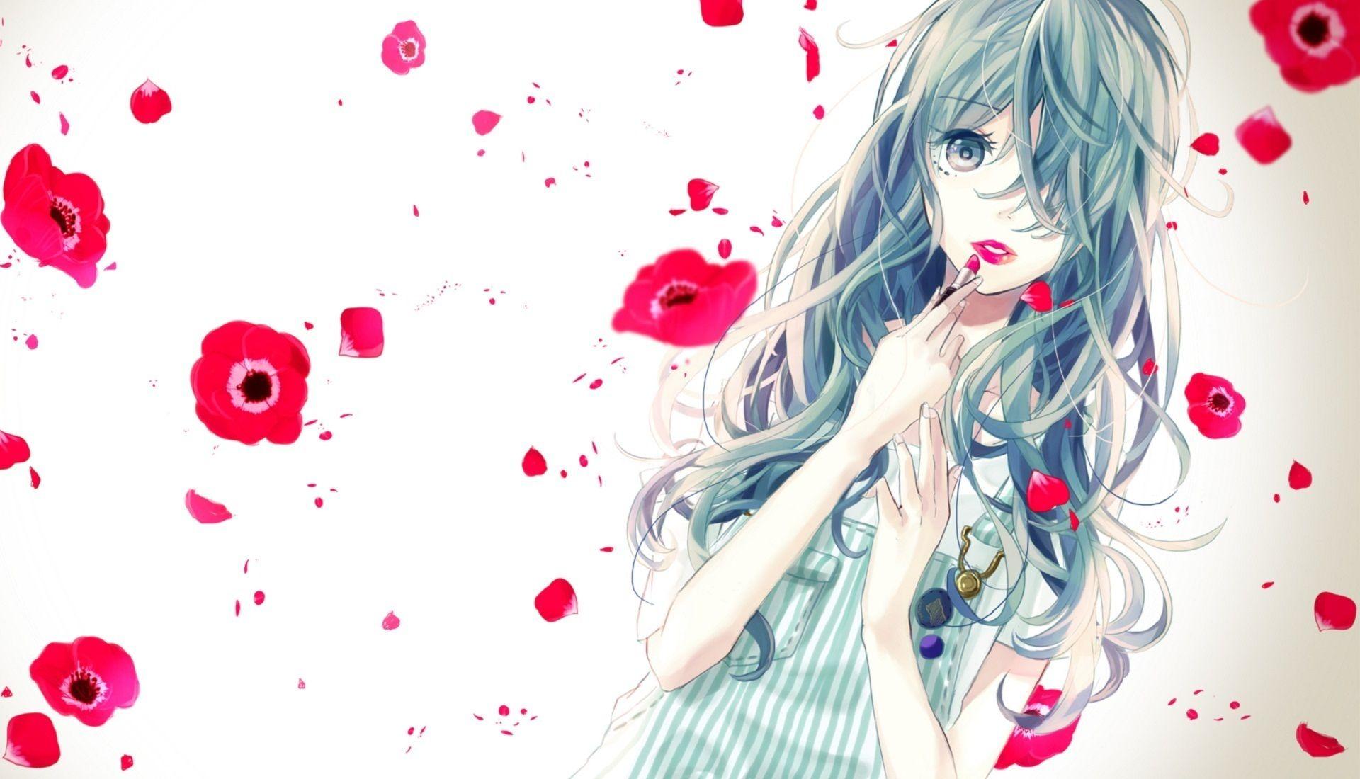Anime girl blue hair red lips anime pinterest anime