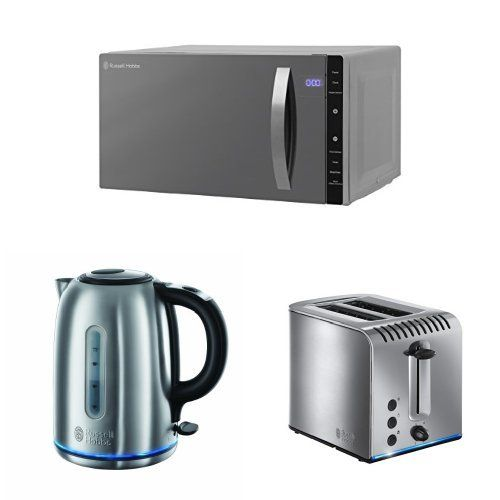 Russell Hobbs Silver Flatbed Microwave 23 L 800 W Silver Russell Hobbs 20460 Buckingham Quiet Boil Ke Kettle Brushed Stainless Steel Combination Microwave