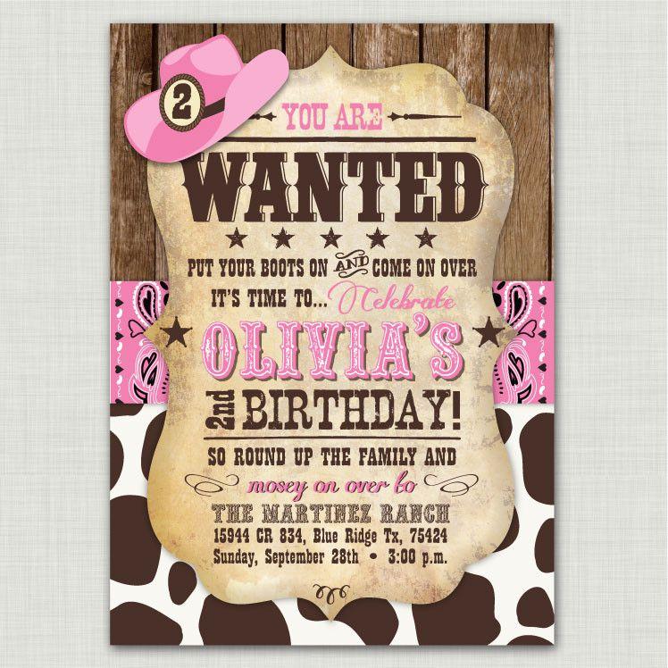 Pink Bandana Cowprint Birthday Invitations | Birthdays, Cowgirl ...