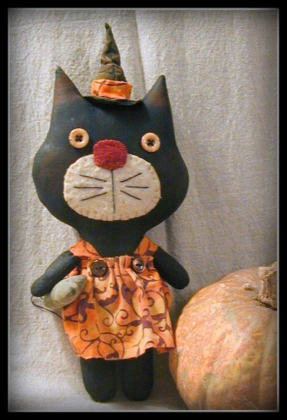 Primitive Sadie The Halloween Kitty by ButtonsInTheAttic on Etsy,