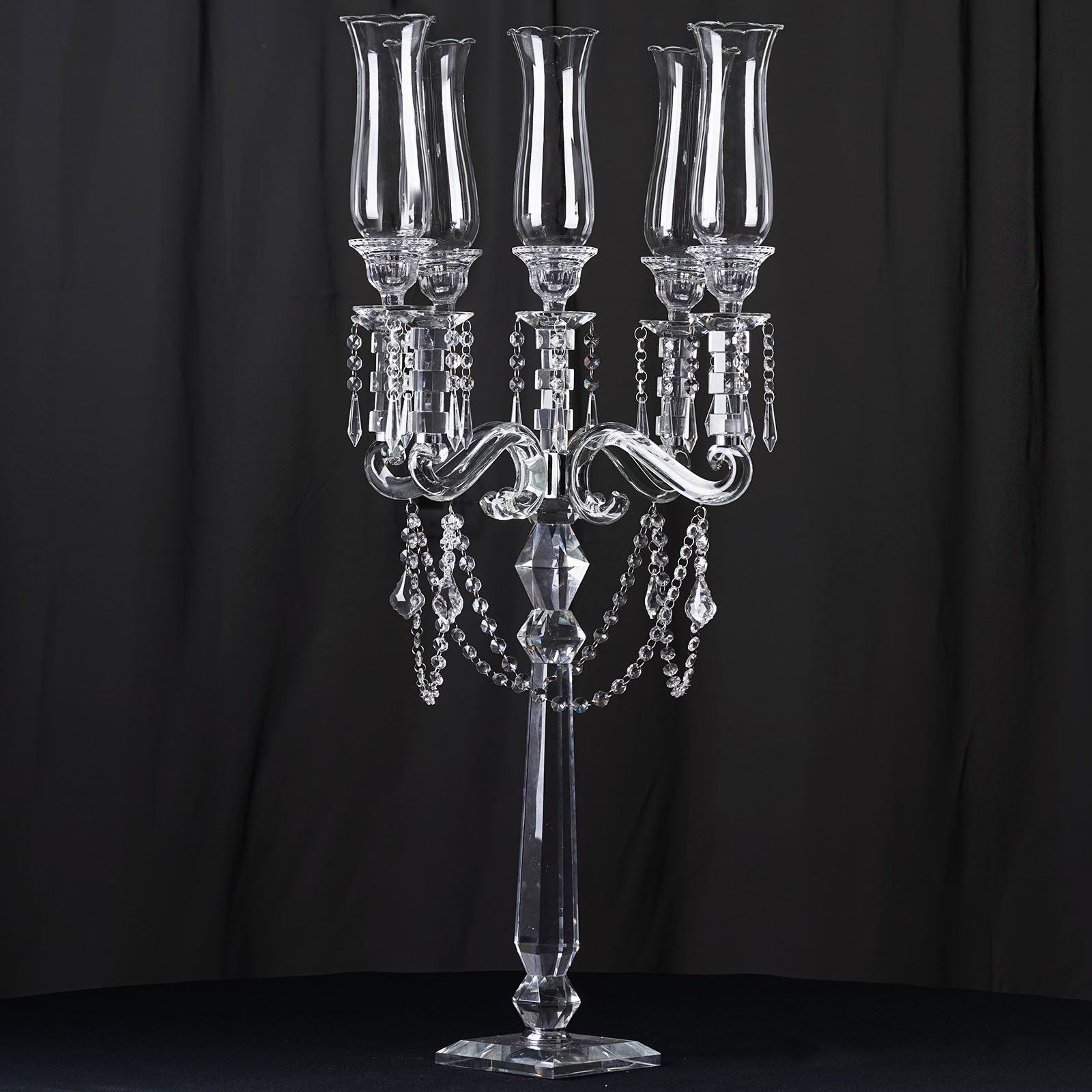 39 Tall 5 Arm Premium Hurricane Taper Crystal Glass Candle Holder Glass Candle Holders Candleholder Centerpieces Taper Candle Holders