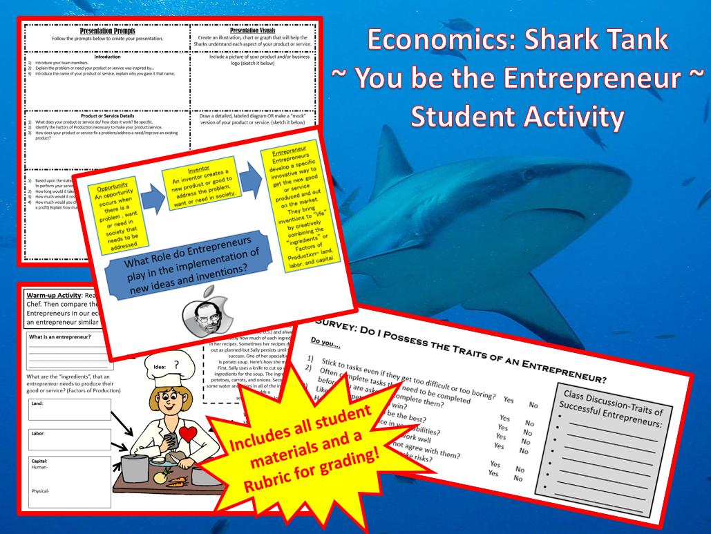 Economics Shark Tank An Entrepreneur Student Activity