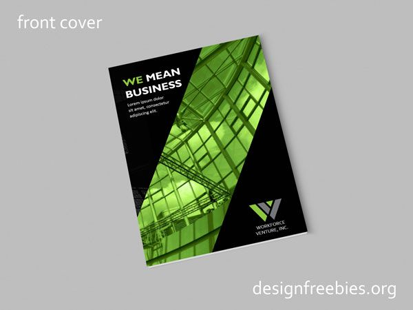 Free Black and Green Company Profile InDesign Template Free - free indesign template