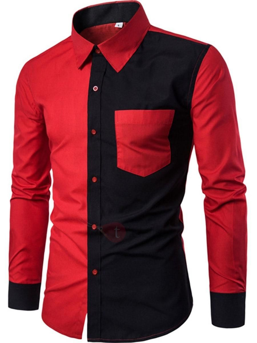 Tidebuy tidebuy lapel color block long sleeve mens shirt