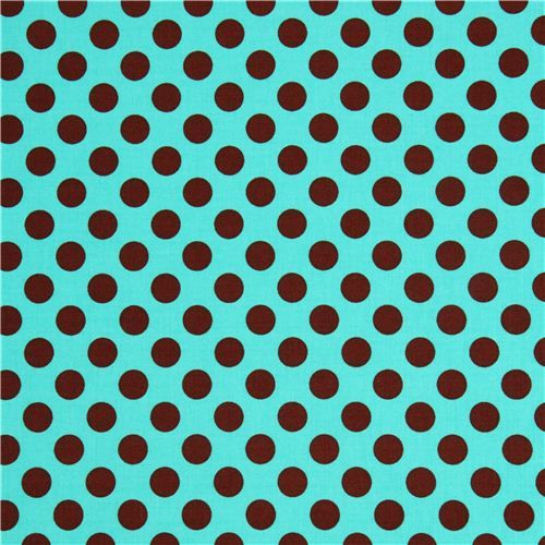 Turquoise michael miller fabric ta dot with white dots dots stripes - Turquoise Dot Fabric With Brown Polka Dots By Michael