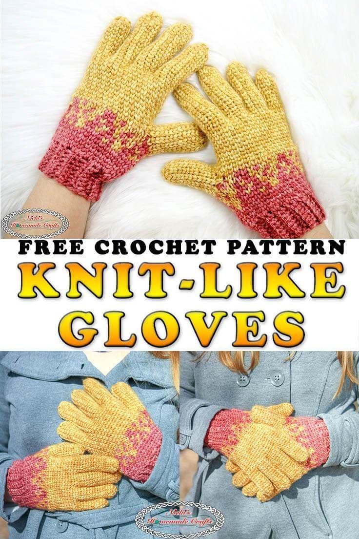 Crochet Gloves with Knit-Like Stitch - Nicki's Homemade Crafts  #Crafts #Crochet #Gloves #Homemade #KnitLike #Nickis #Stitch