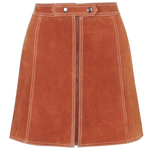 Topshop Suede A-Line Miniskirt (€84) ❤ liked on Polyvore featuring skirts, mini skirts, bottoms, brown skirt, suede mini skirt, short mini skirts, short brown skirt and a line mini skirt