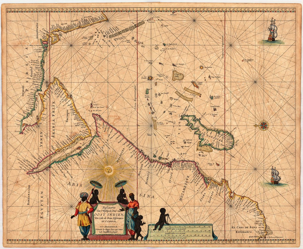 1660 Decorative map of the Indian Ocean