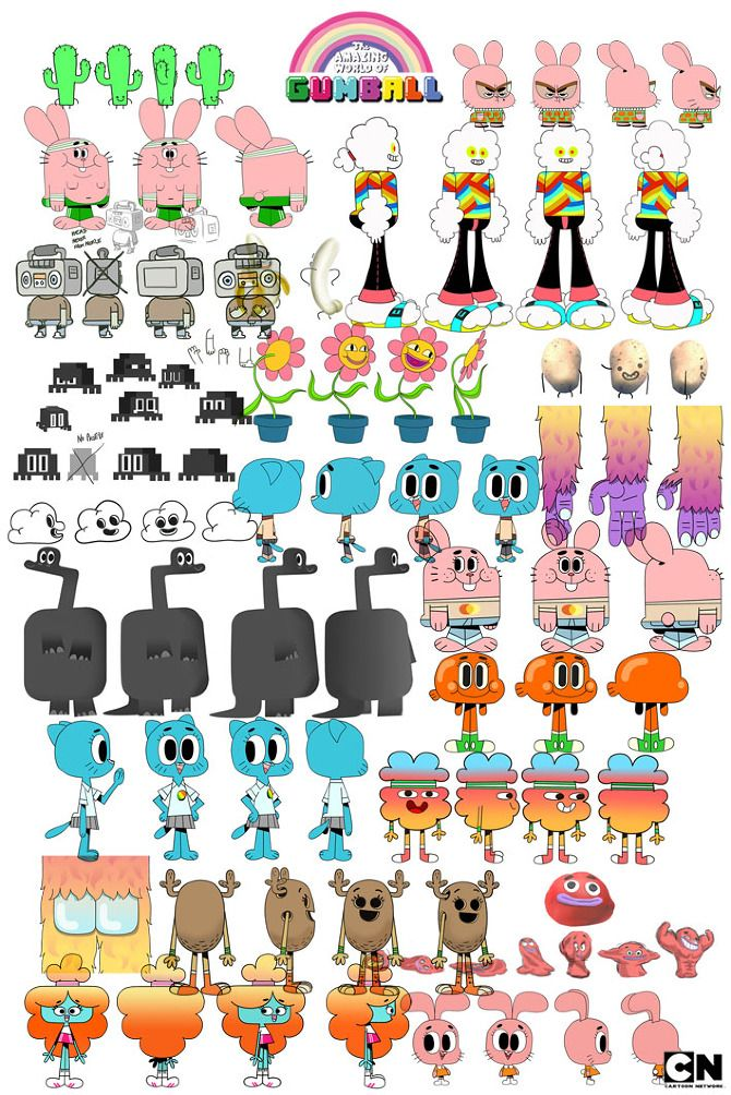 Character Design Chart : The amazing world of gumball vky ref for project