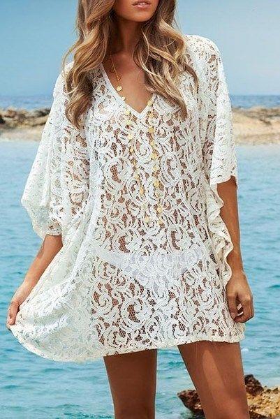 016b51a76e02 Plážové šaty - biele