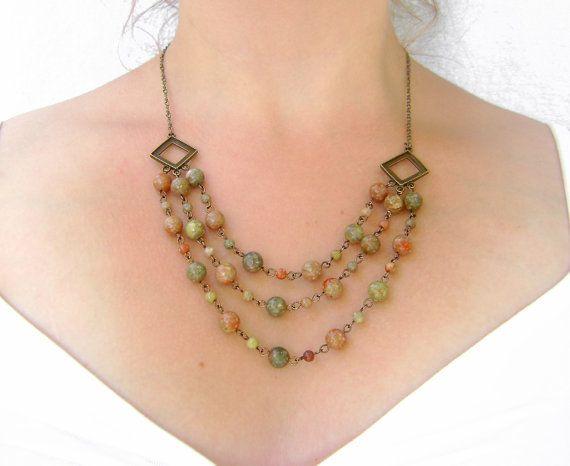 Early Autumn Necklace - Autumn Jasper  Beaded Layered Necklace by evekuuskART, $72.65