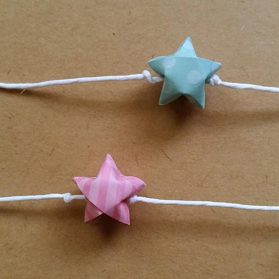 Pink And Teal Garland Origami Garland Handmade Baby Shower