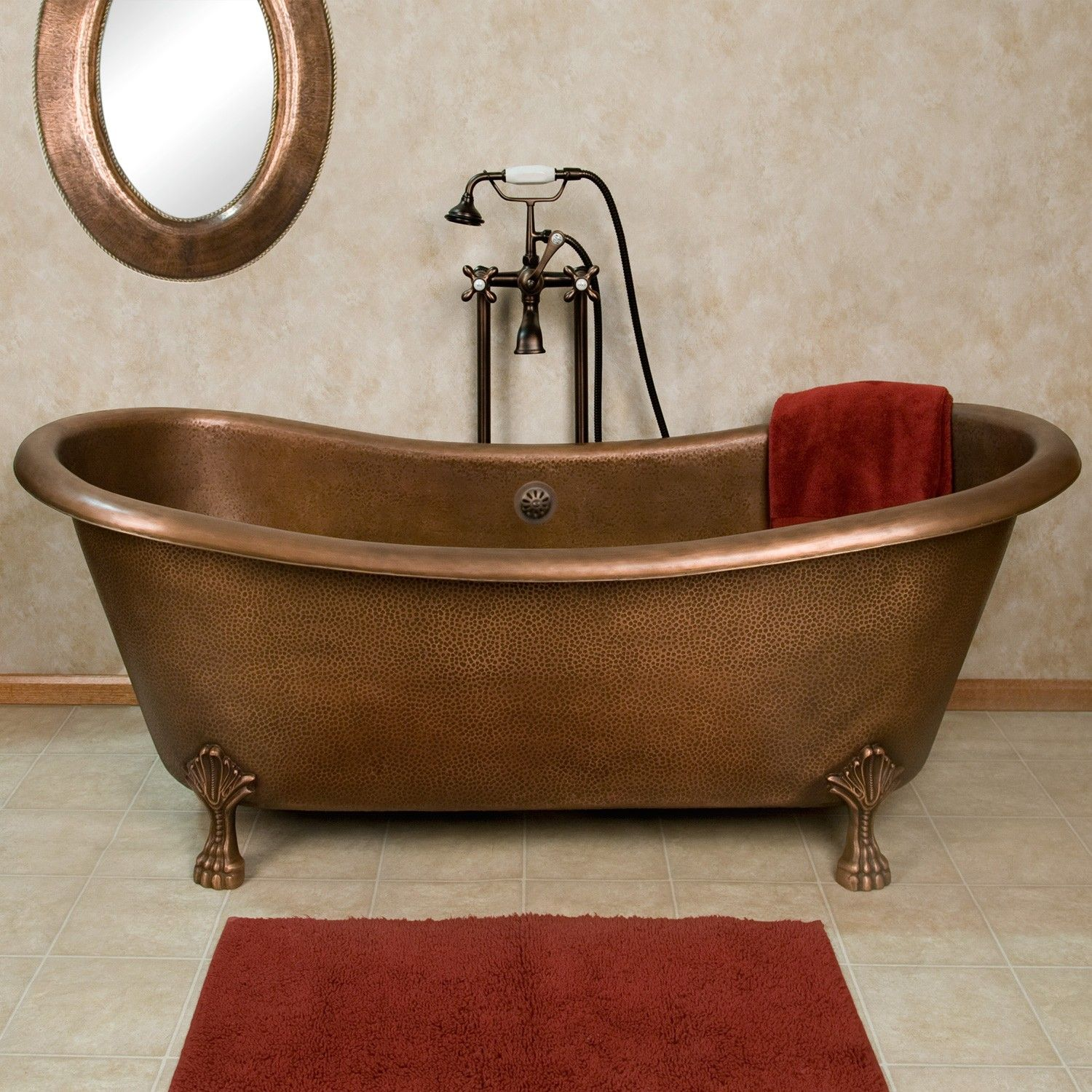 Josette Hammered Copper Double-Slipper Clawfoot Tub | Bed/Bath ideas ...