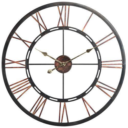 Cooper Classics Mallory Clock 40223 Bellacor In 2020 Large Metal Wall Clock Oversized Wall Clock Chic Wall Clock