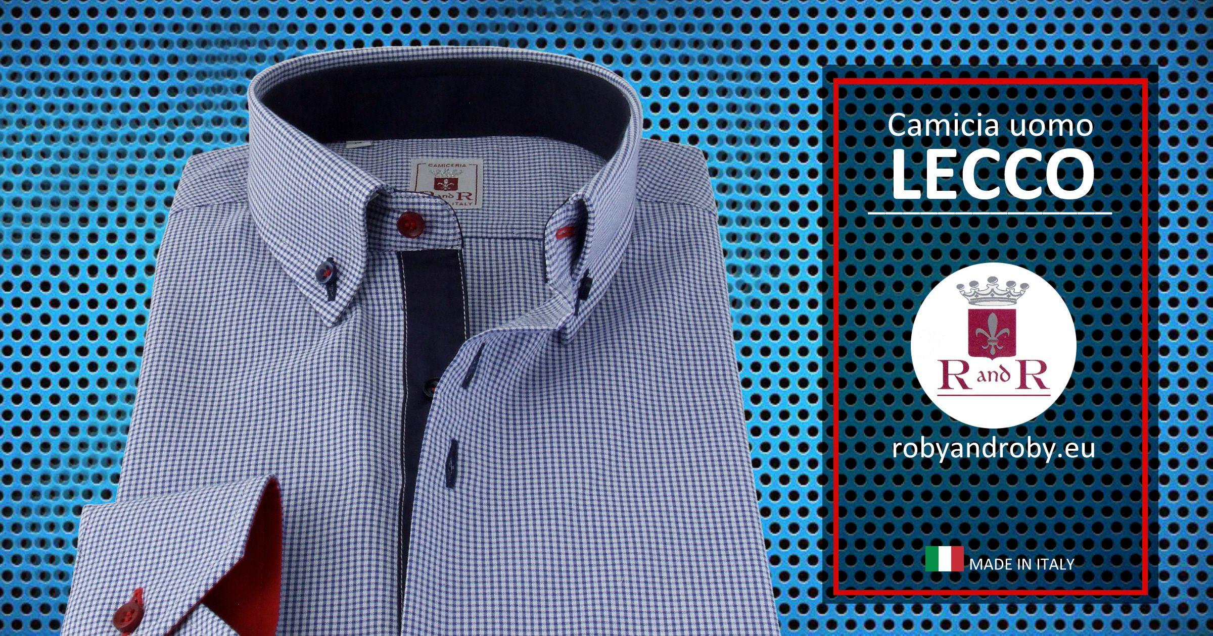 Green checkered dress shirt  Menus shirt LECCO  Mensshirt white and blue micro checkered