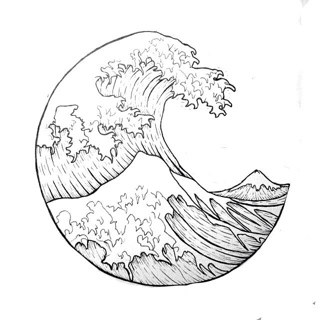 The great wave outline i want it as a tattoo tatuajes for The great wave coloring page