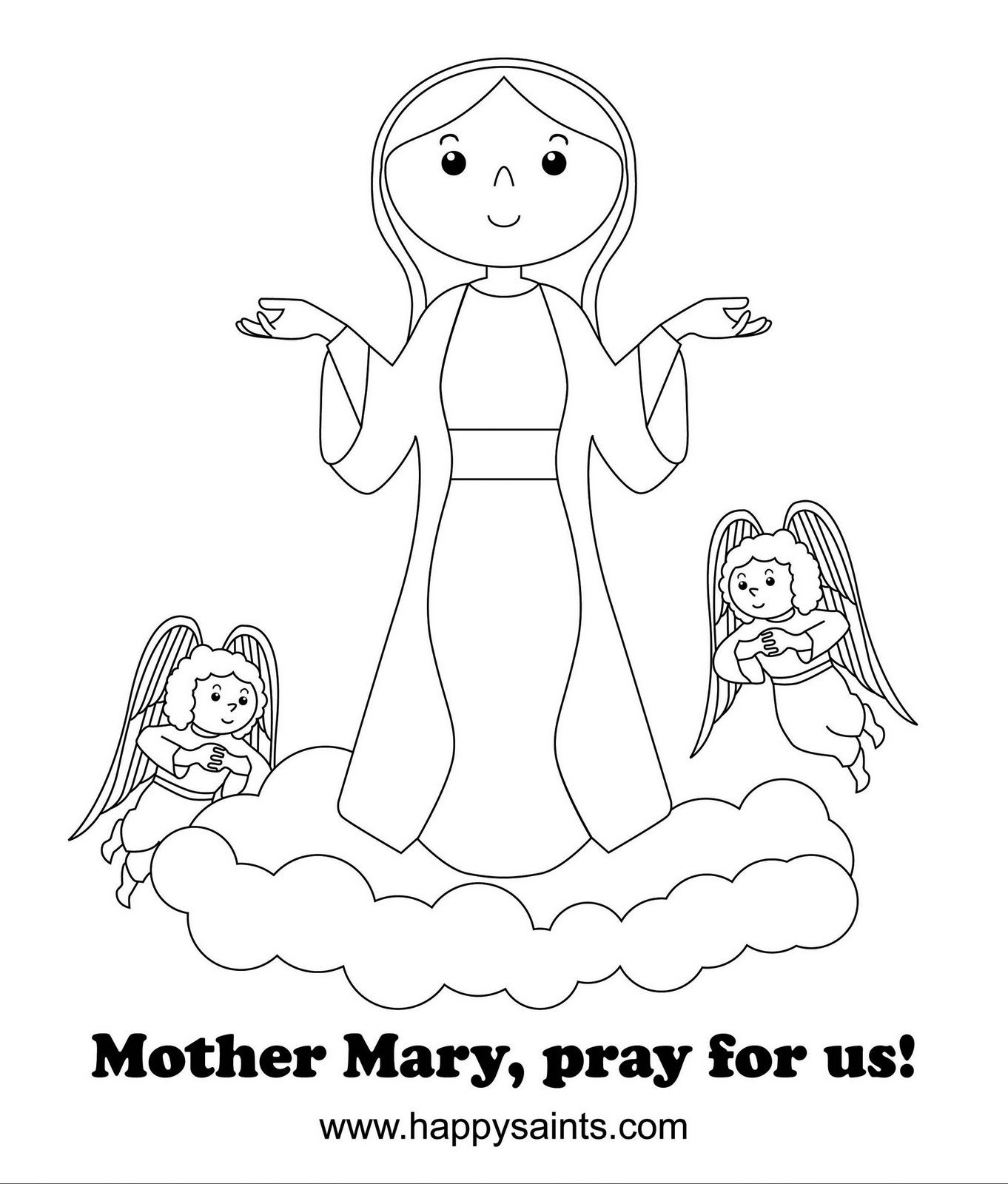 Happy Saints: Mother Mary Coloring Page | Mother Mary and Rosary ...