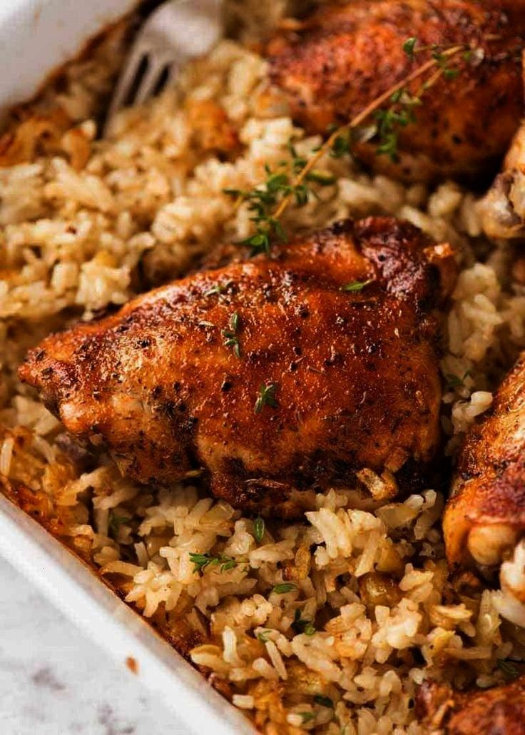 Chicken and Rice Oven Baked Chicken and Rice   One-pan no peek chicken and rice is sure to become a