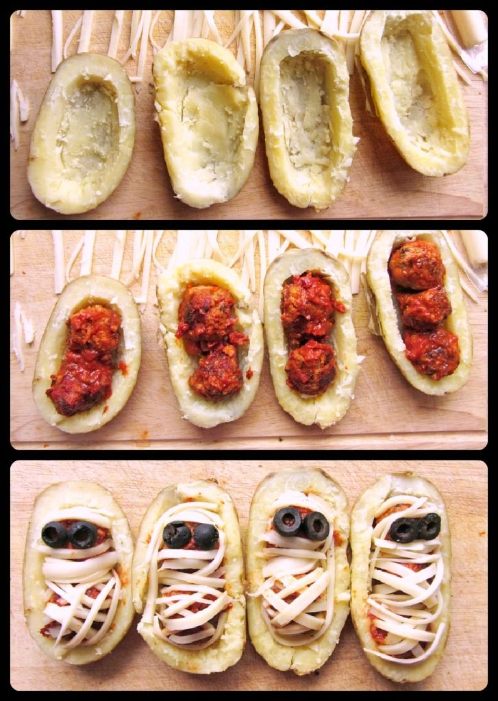 halloween mummy potatoes with meatballs great idea but i would probably do it with mini - Halloween Bakery Ideas