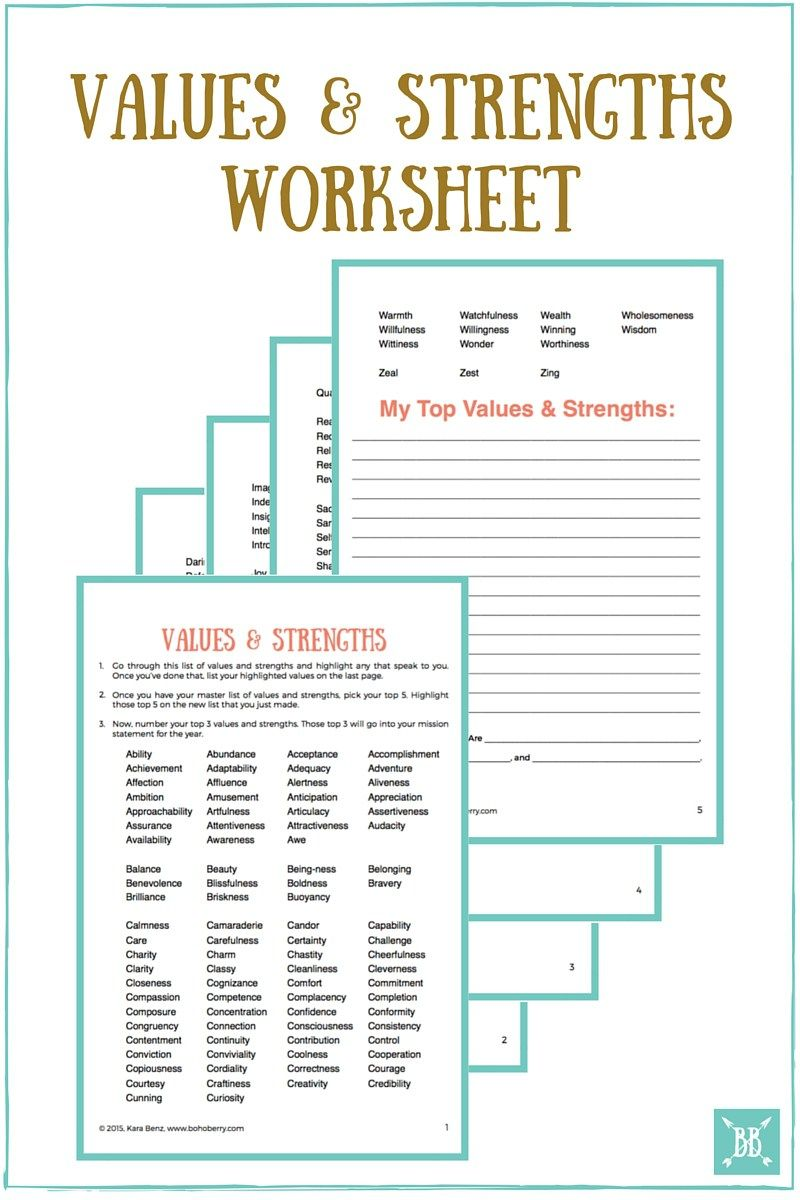 worksheet Core Values Worksheet crafting your personal mission statement for 2016 worksheets values and strengths worksheet