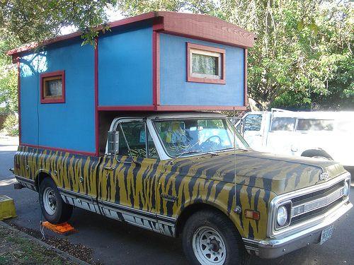 Tiger Stripe Chevy Blule Homemade Camper. Tiger Stripe Chevy Blule Homemade Camper   Nomadic   Pinterest