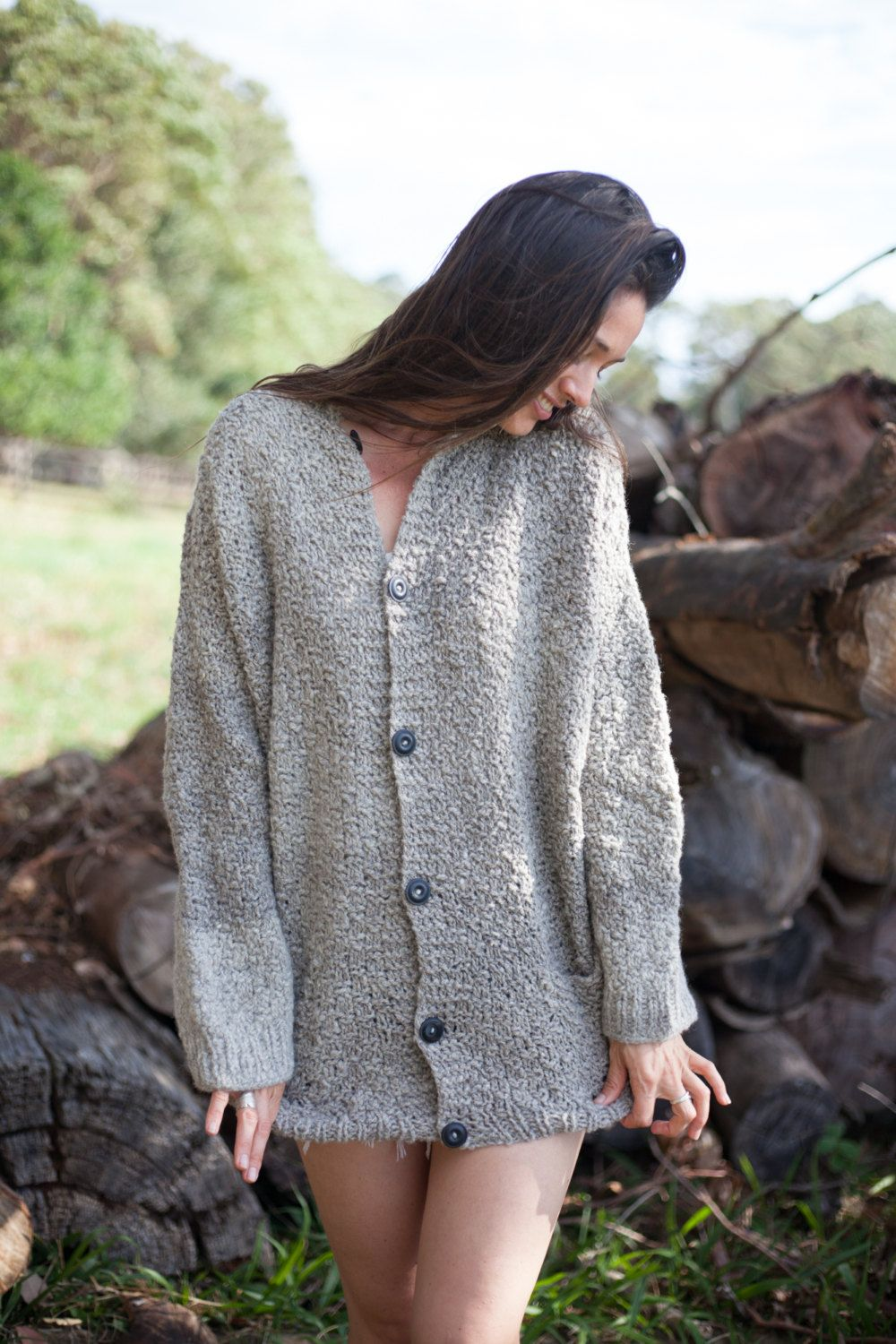 Hand knit grey cardigan / sweater / pure wool knit cardigan / mens ...
