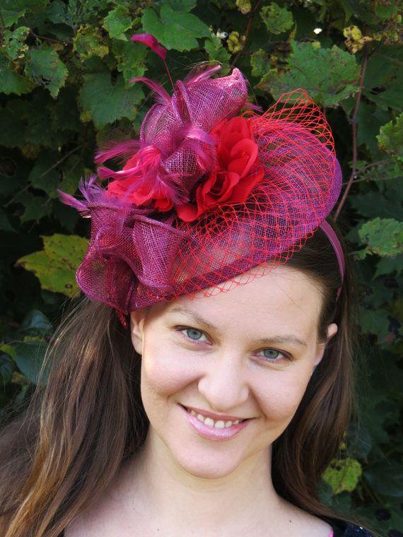 e48985bc93b86 Kentucky Derby Red Fascinator wine fascinator hat burgundy wedding ...