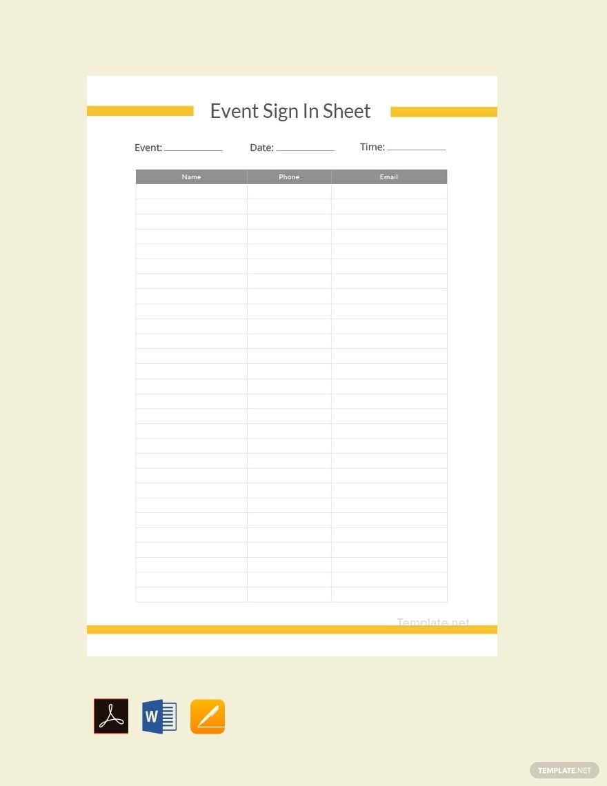 Free Event Sign In Sheet