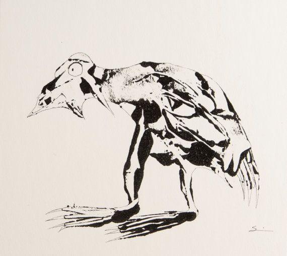 Inky Bird  Signed, Original $45 on Etys | #CarlaSonheim