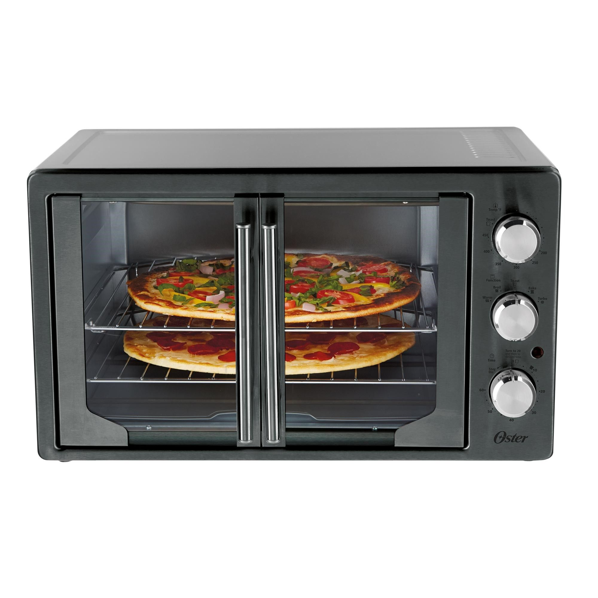 Oster Metallic Charcoal French Door Oven With Convection French Door Oven Stainless Steel Oven Countertop Oven