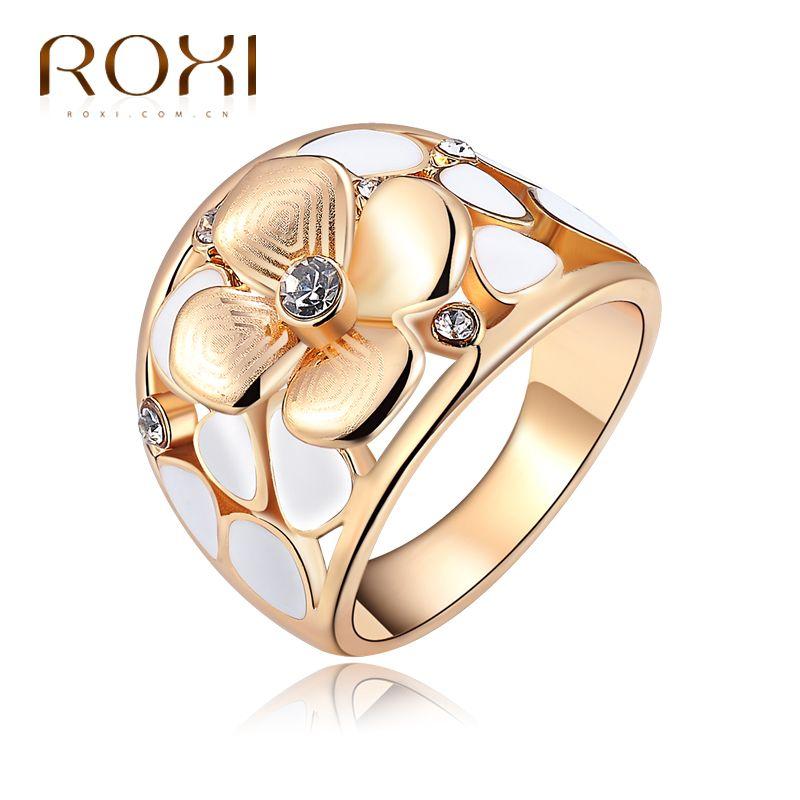 2017 Marca ROXI Exquisito Anillo de la Flor Champagne Rose de Los Anillos de Color Oro con Circón Regalo de La Joyería Del Cuerpo de Moda Del Medio Ambiente