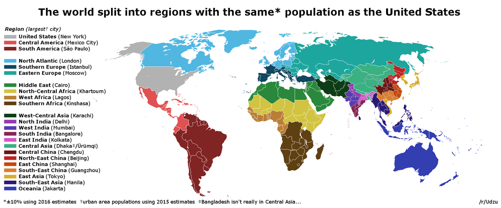 The world, split into regions with ~the same population as the US