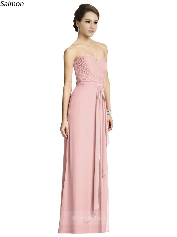 Buy Best Girl Sweetheart Long Chiffon Salmon Sleeveless Bridesmaid ...